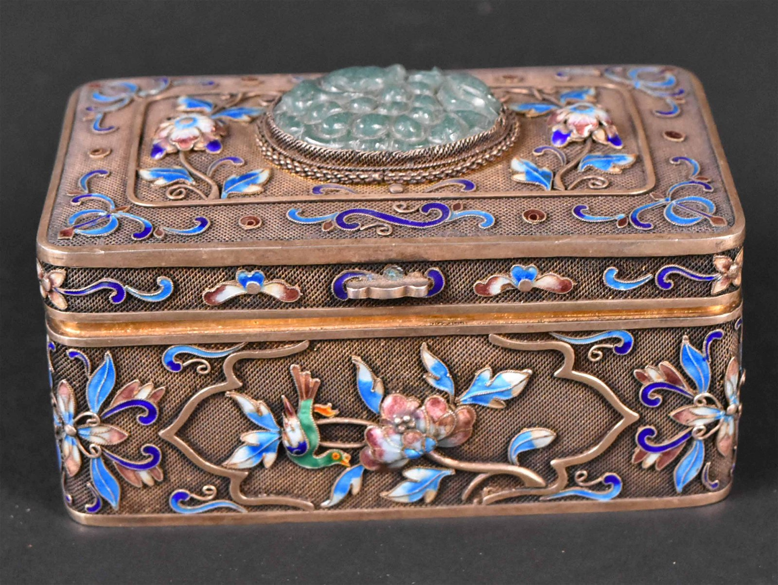 Chinese Silver Gilt Enamel Jade Box