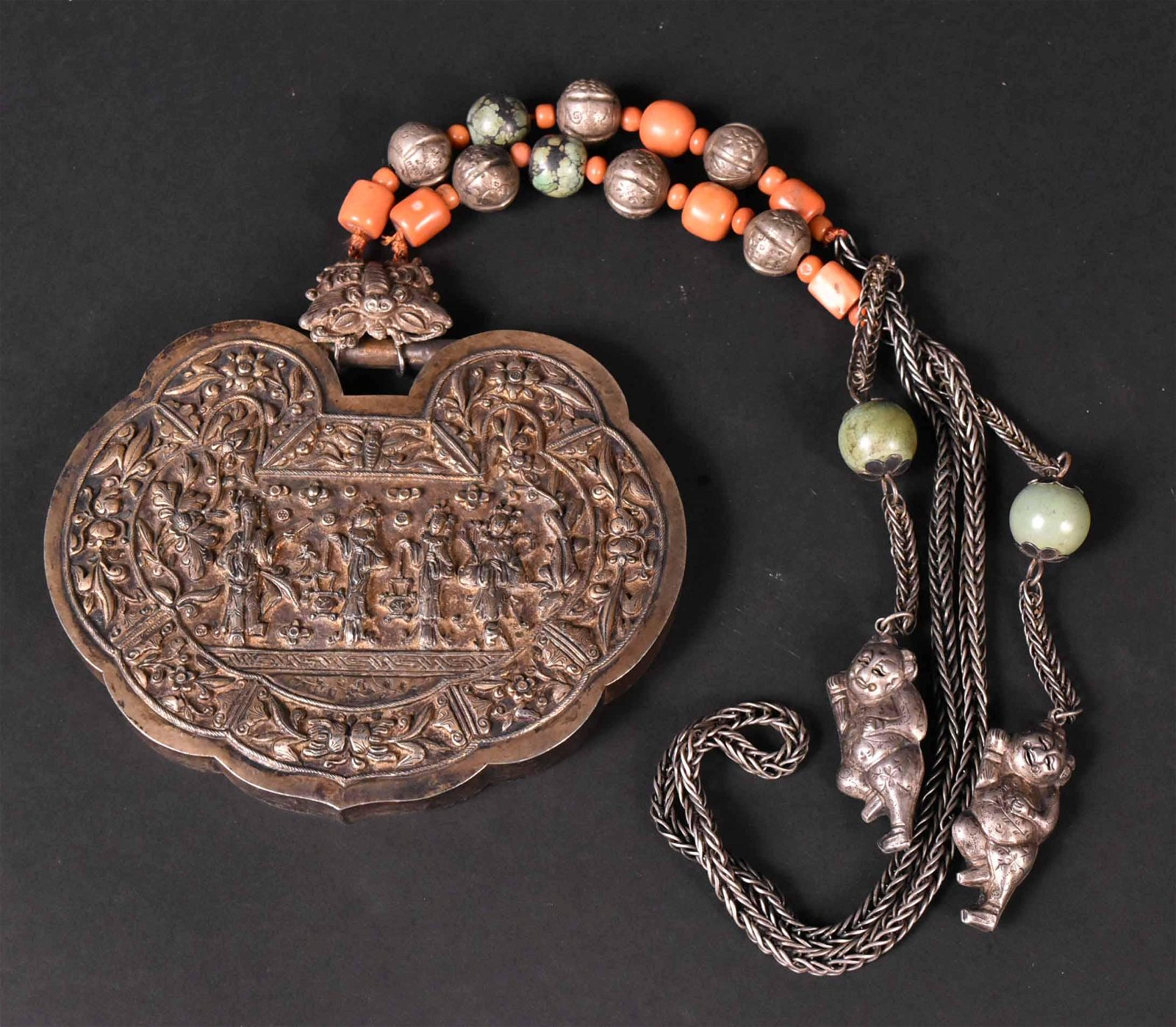 Chinese Silver Turquoise Coral Necklace