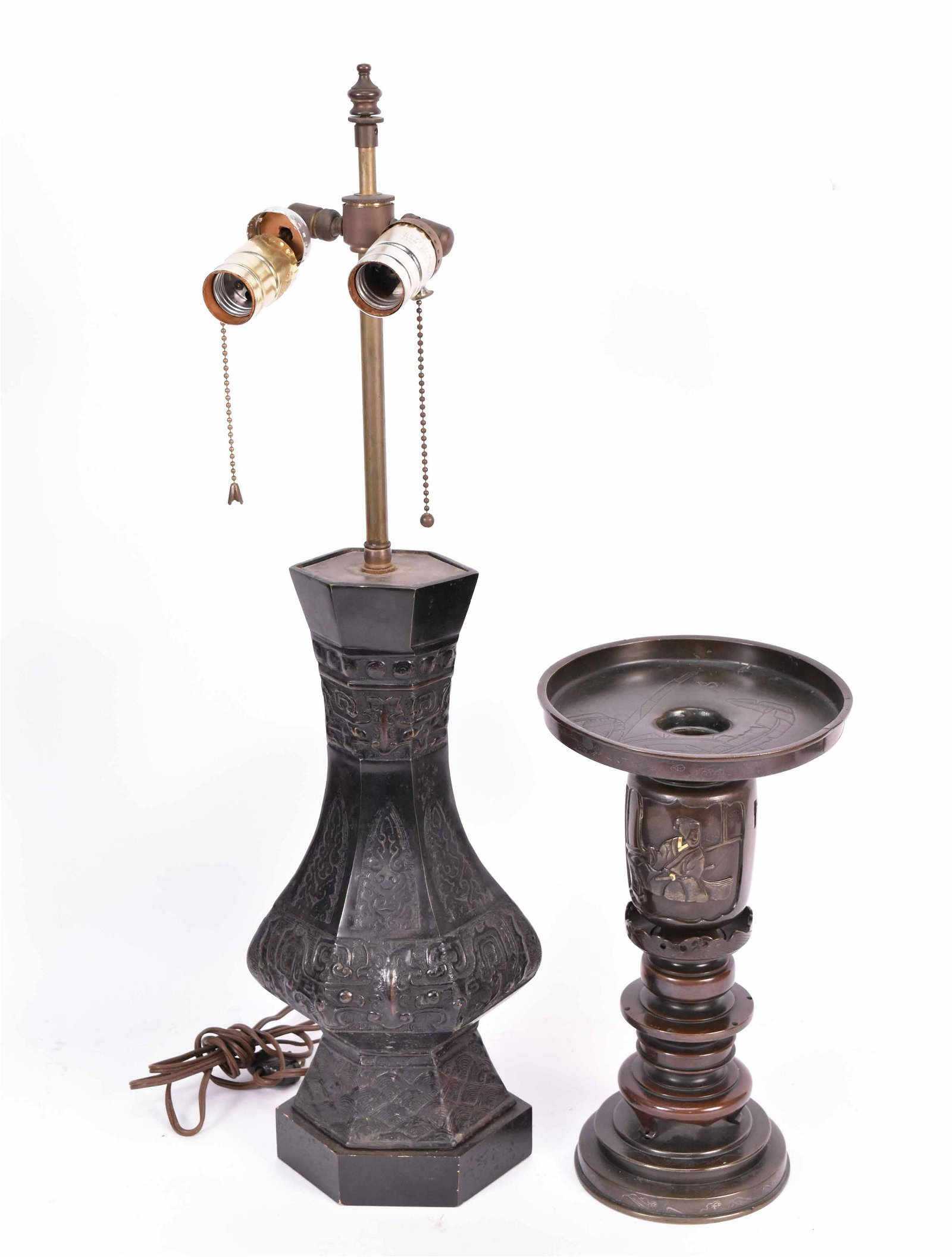 Asian Patinated Bronze Vase