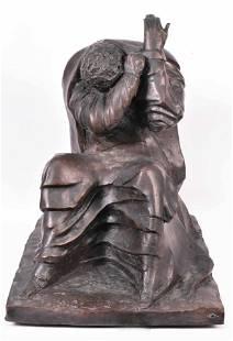 """Cast Bronze, """"Holocaust,"""" Leonard Baskin"""