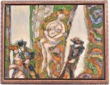 Oil on Board, Harry Sefarbi, Abstract Female Nude