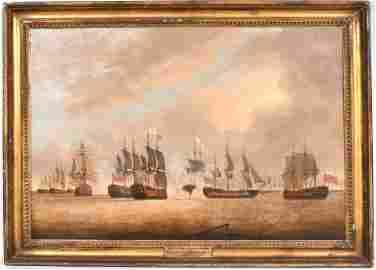 Oil on Canvas, Battle of the Saintes, J.T.  Serres