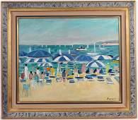 Oil on Canvas, Figured on Beach, Robert Savary