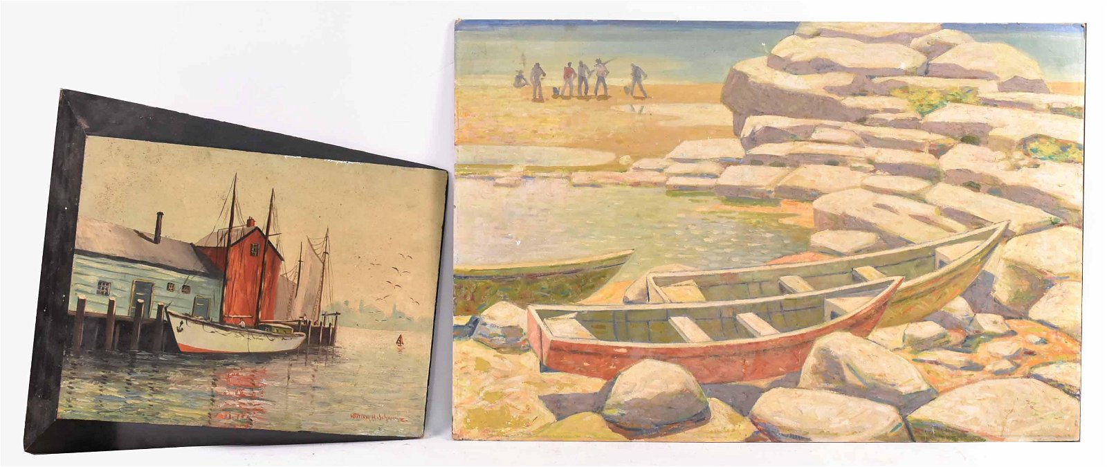Oil on Masonite, Fishing Boat at Dock