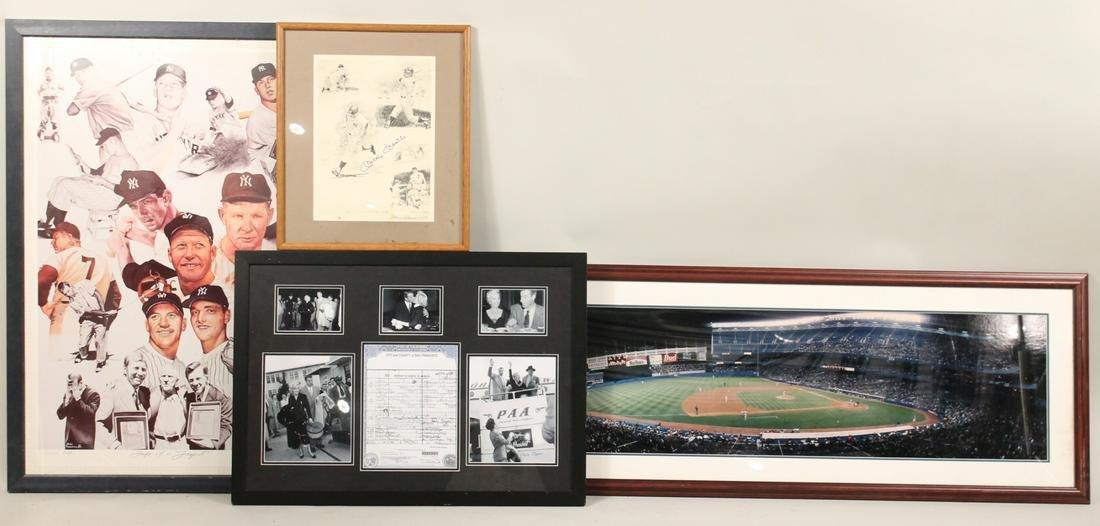 Four Framed Yankee Memorabilia Works