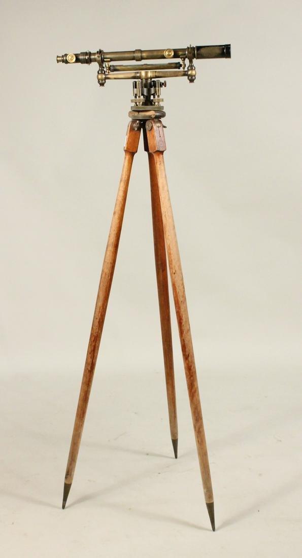 W& L.E Gurley Brass Survey Level Tripod Stand Box