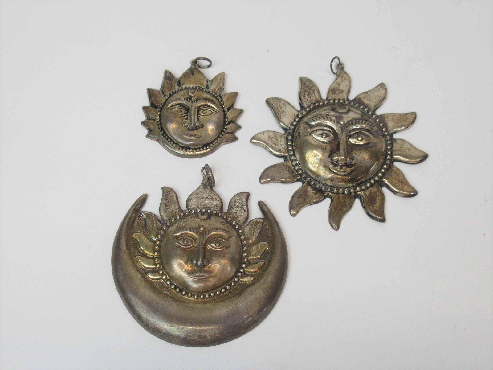 Three Silver Face Within Sun Pendants