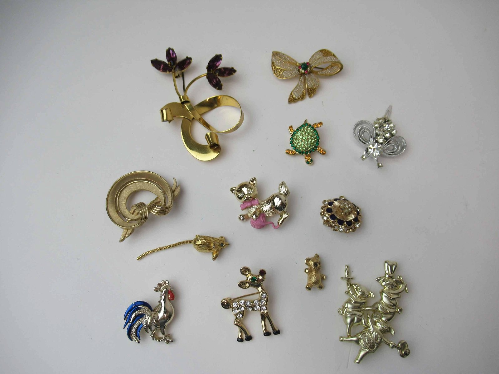 Group of Assorted Costume Jewelry Brooches
