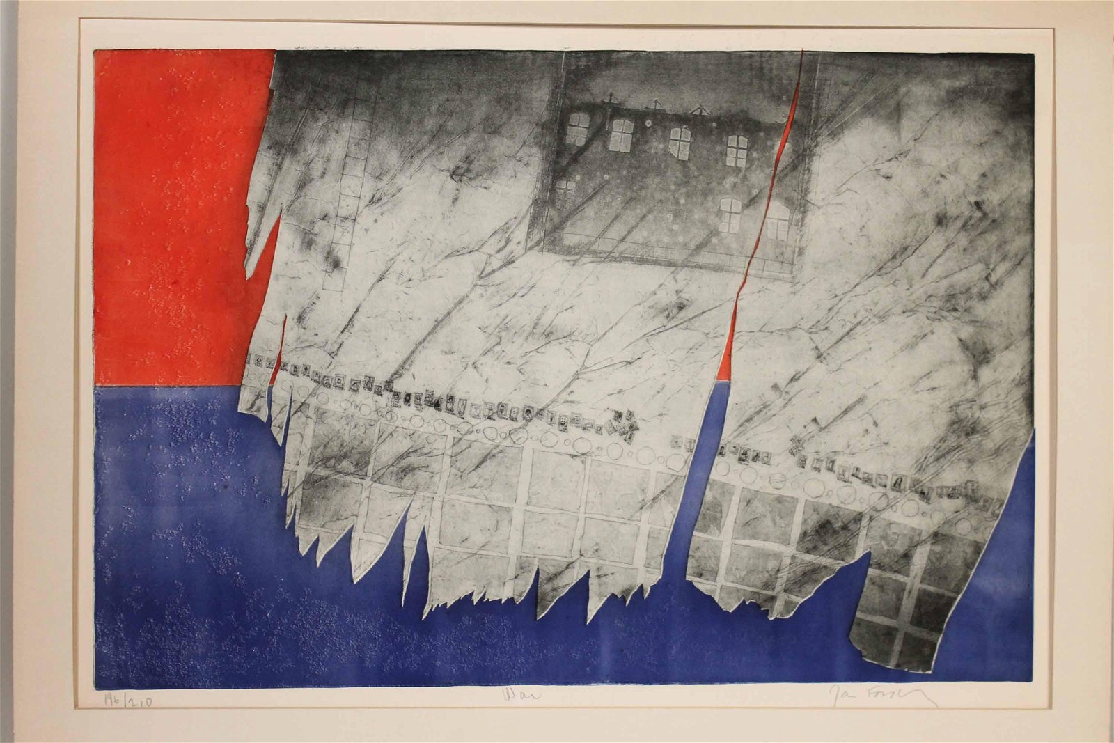 """Lithograph, """"War"""", Red, White, and Blue"""