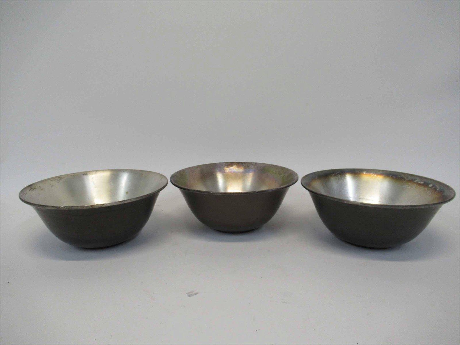 Set of Three William Lipton Metalware Bowls