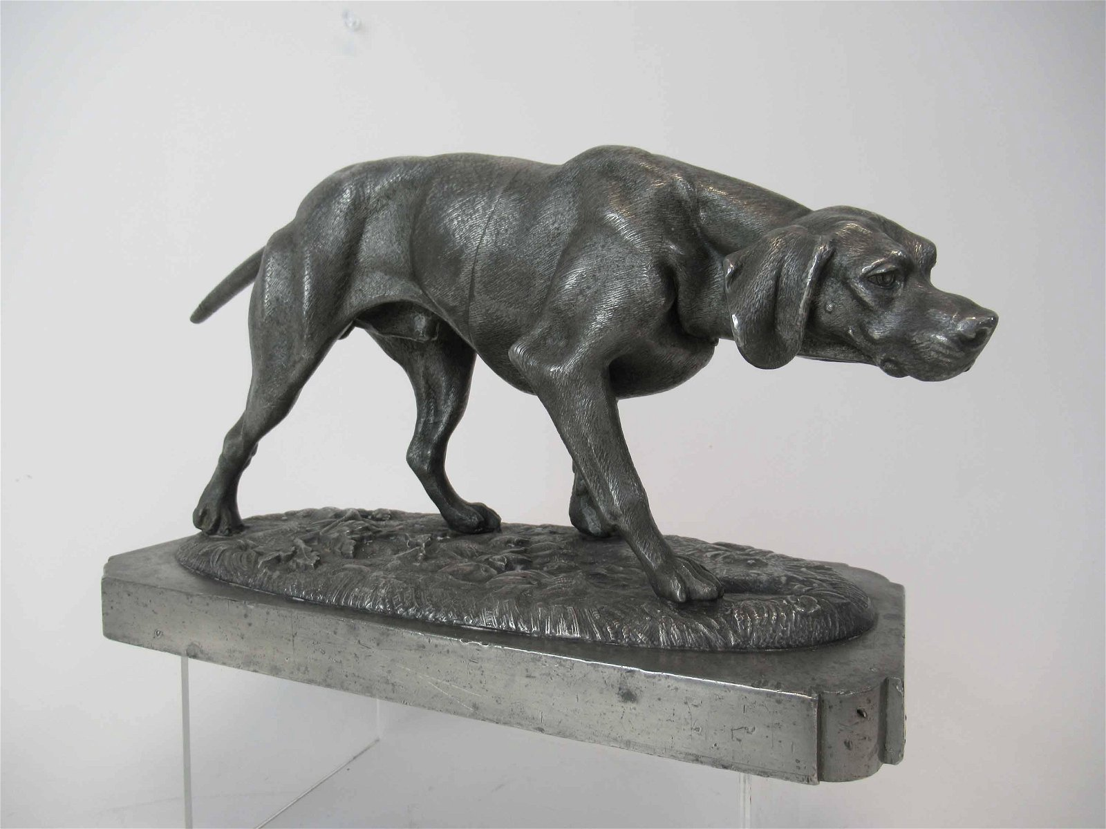 Pewter Statue of Hound Dog