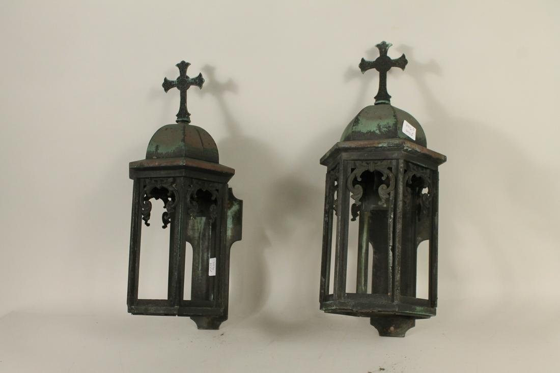 Pair Church Copper Wall Lanterns with Patina