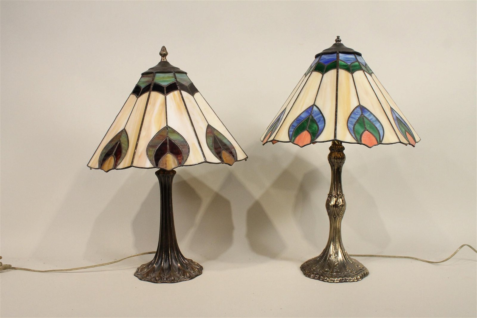Two Stained Glass and Brass Table Lamps