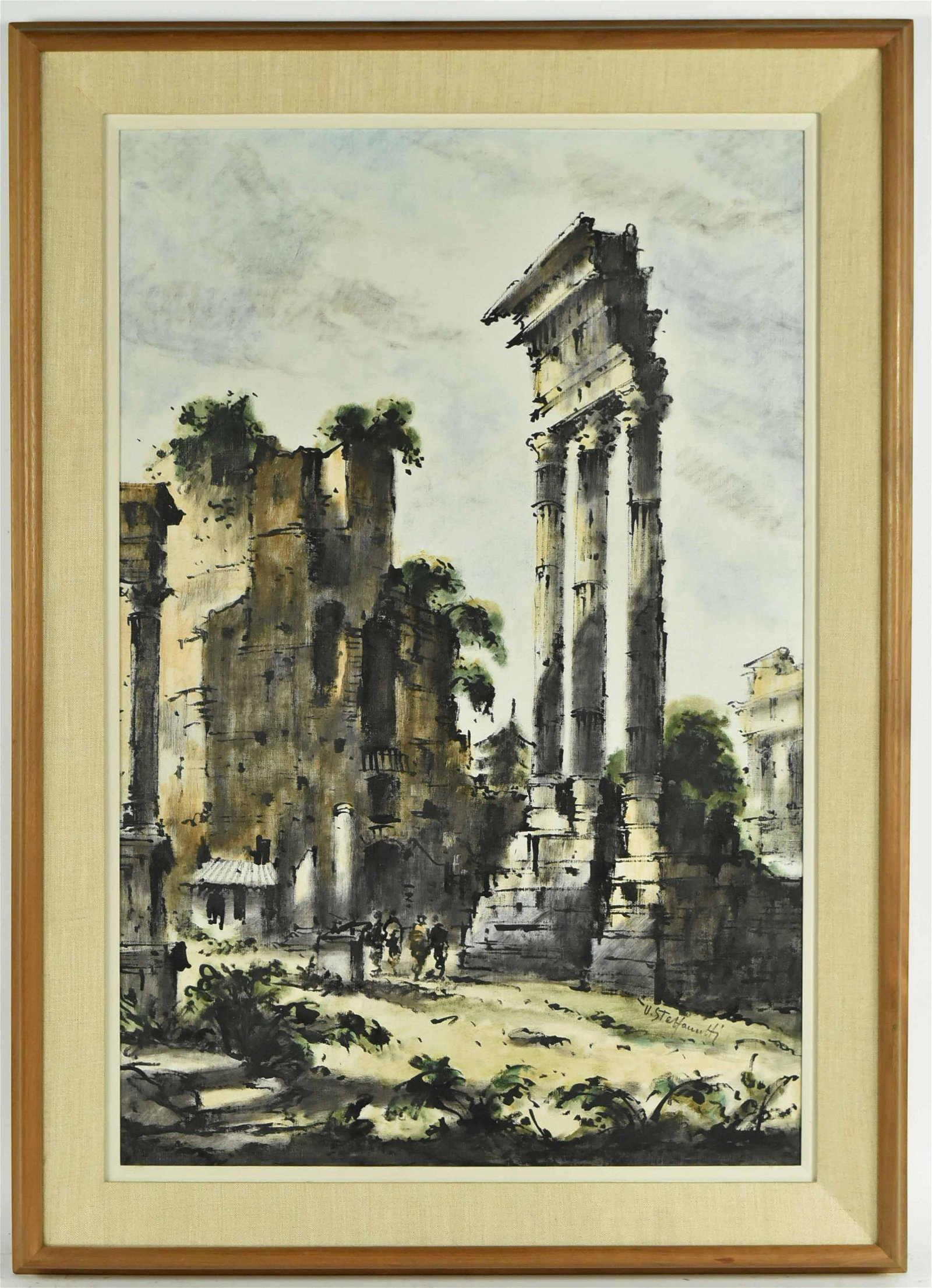 Oil on Canvas, Roman Ruins, Ferruccio Steffanutti