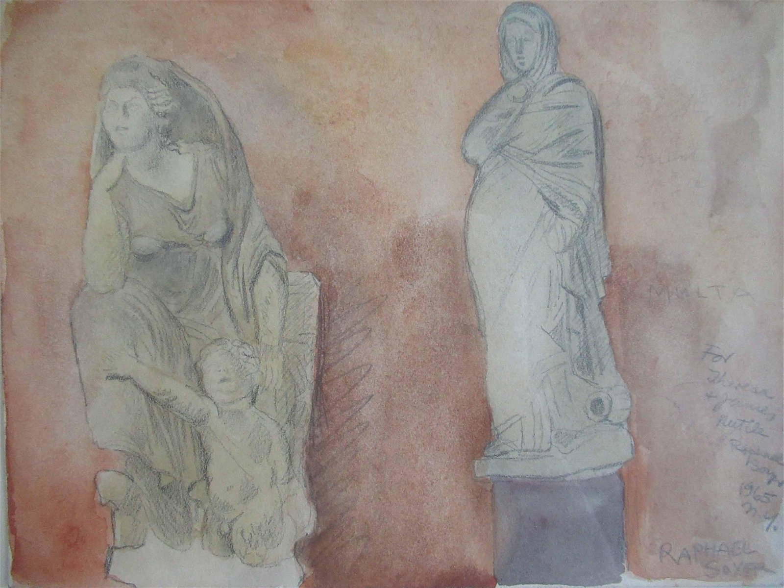 Raphael Soyer Mixed Media of Statues