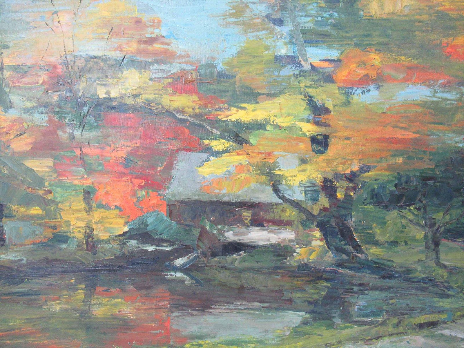 Acrylic on Canvas of Landscape signed Sherman 65