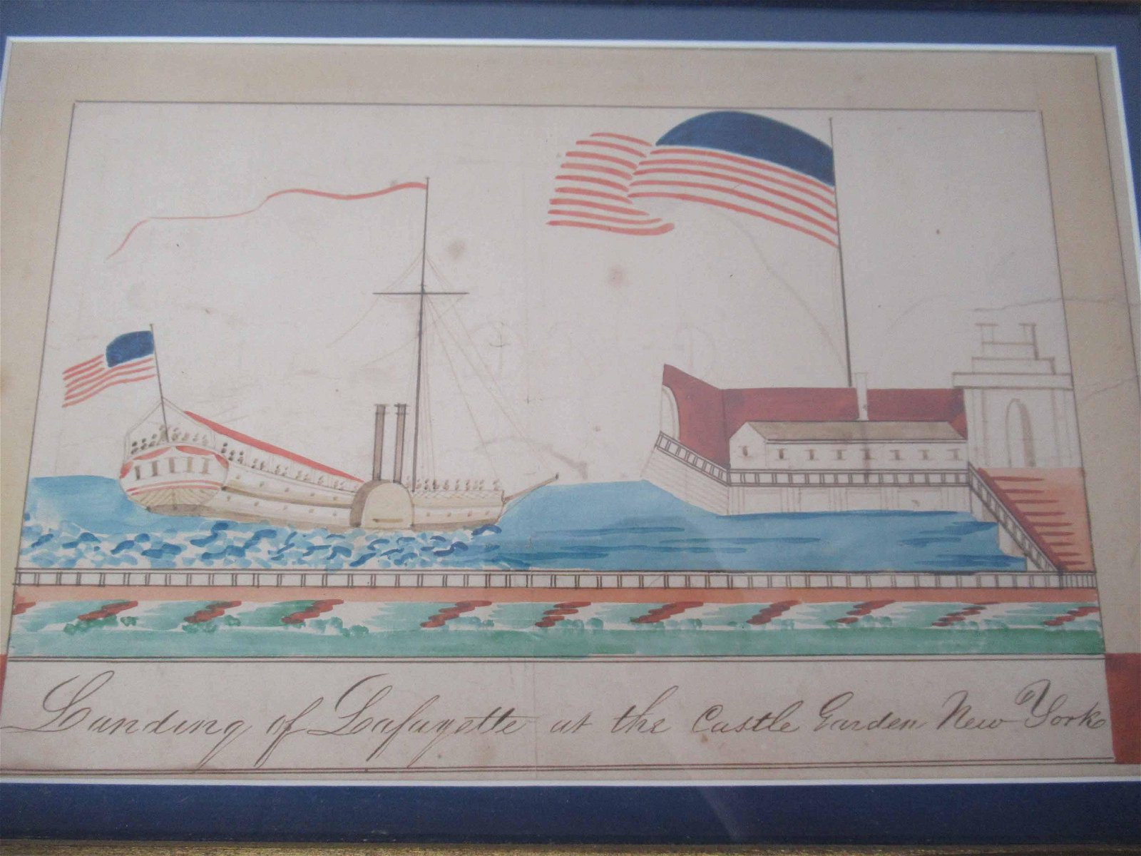 Mixed Media on Paper of Lafayette Landing NY
