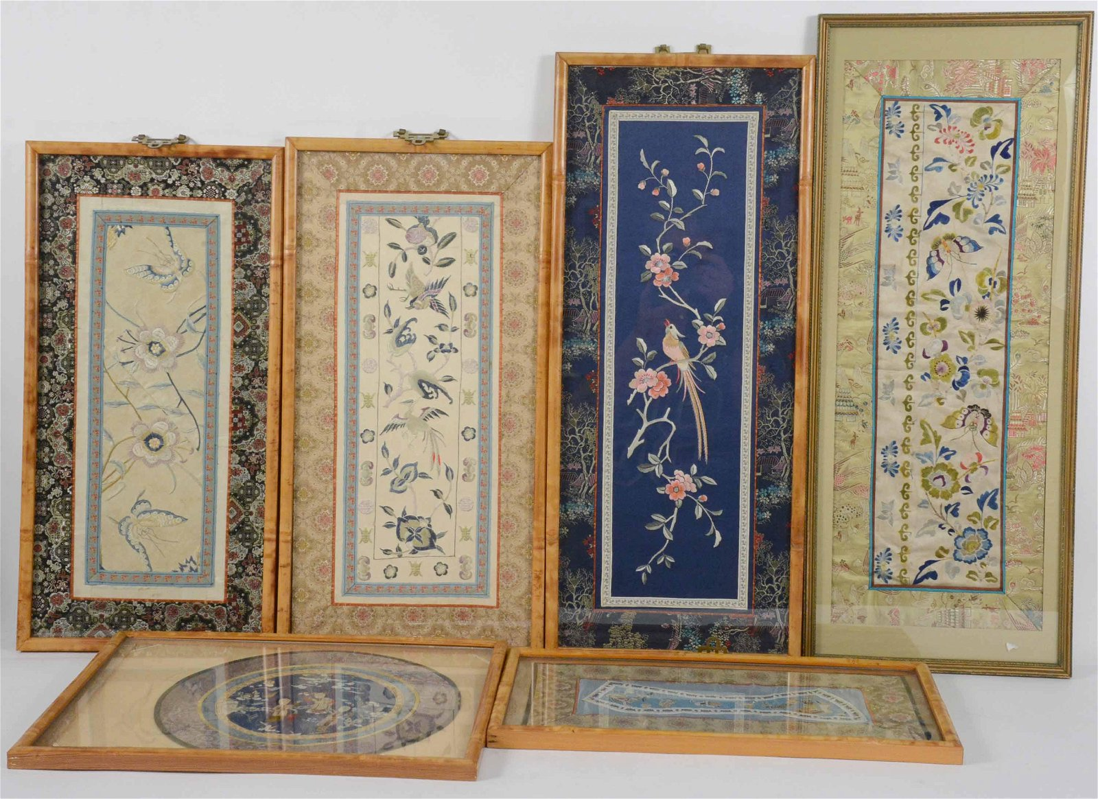 Six Framed Chinese Embroidered Silk Panels