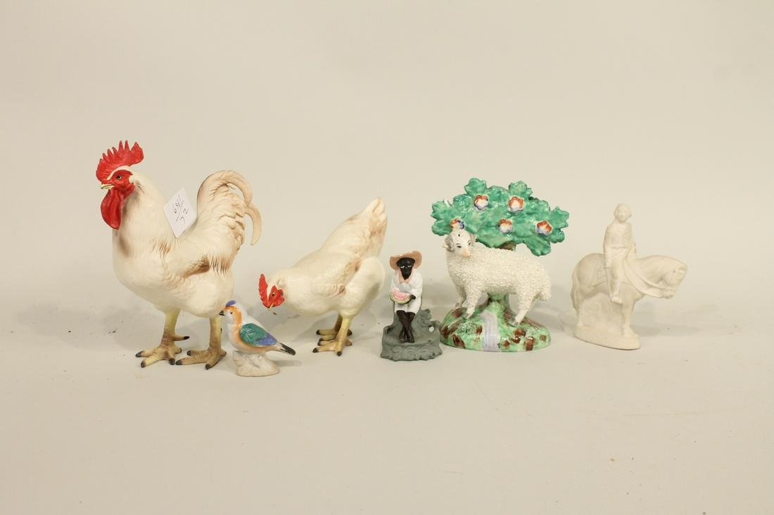 Two  Ceramic Roosters