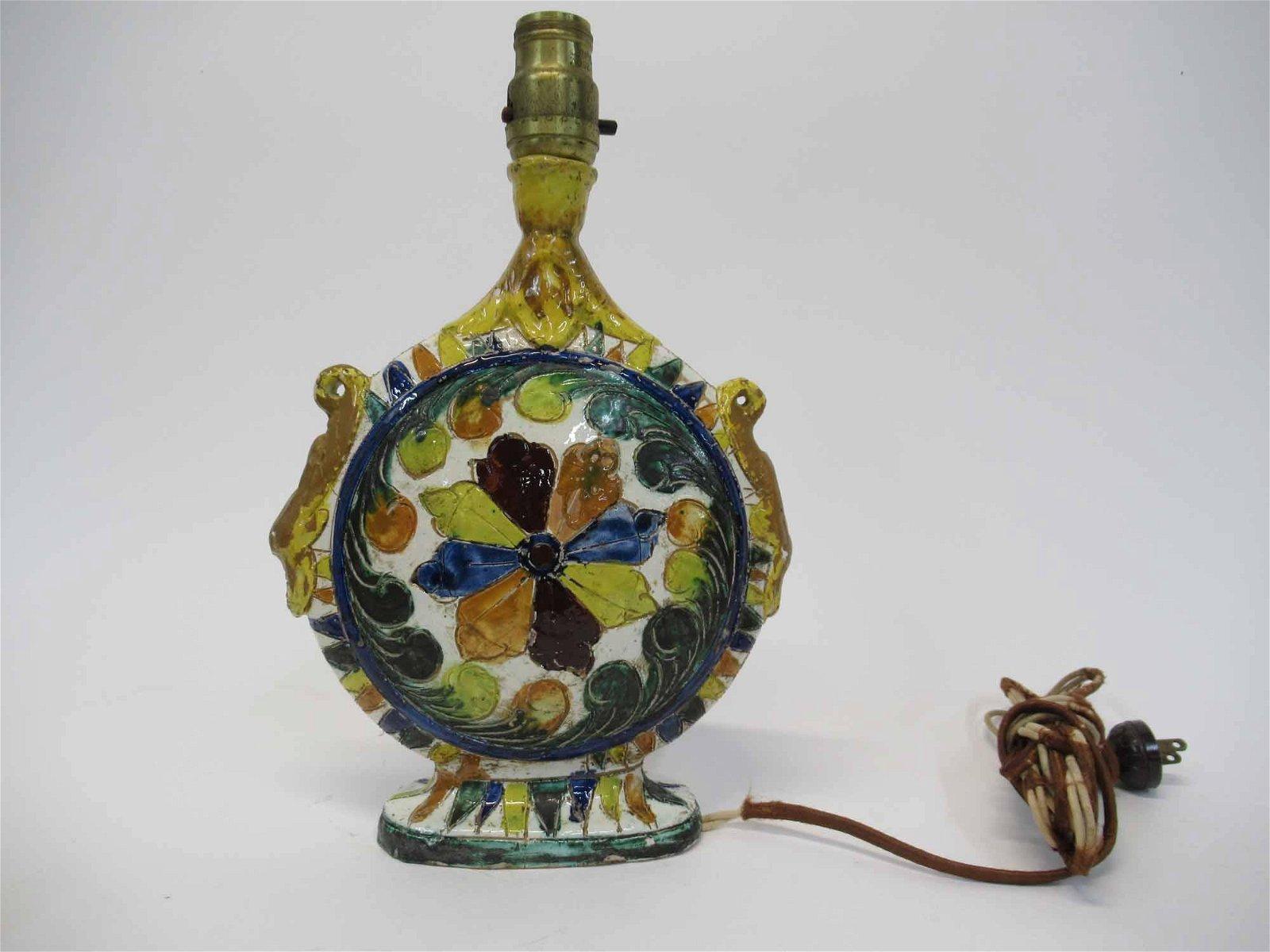 Italian Art Pottery Vase mounted as lamp