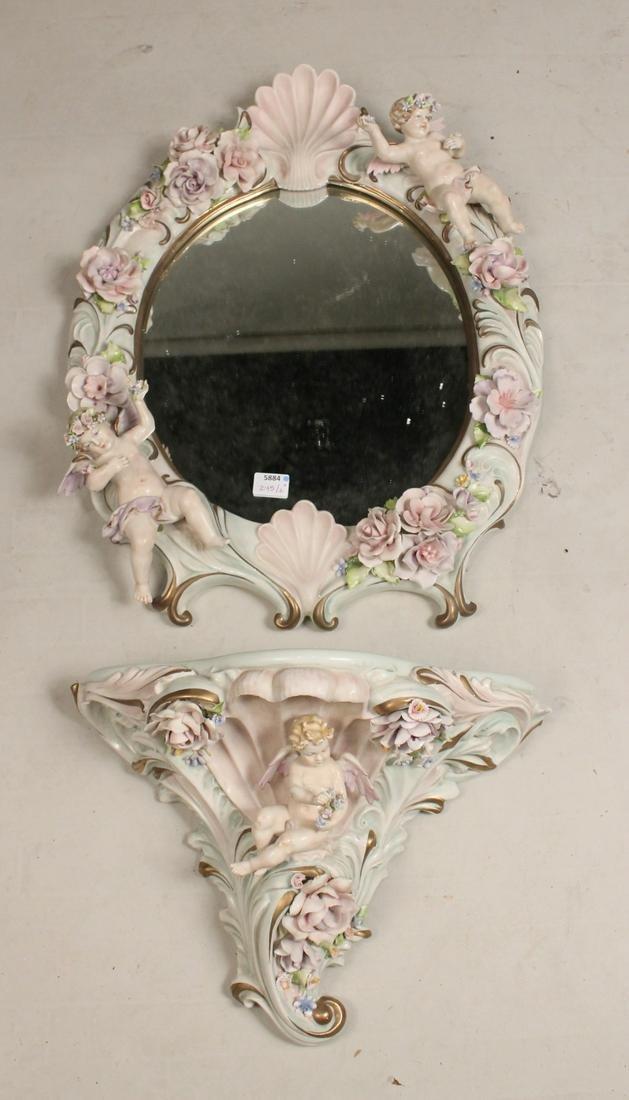 Capo-di-Monte Porcelain Bracket and Mirror