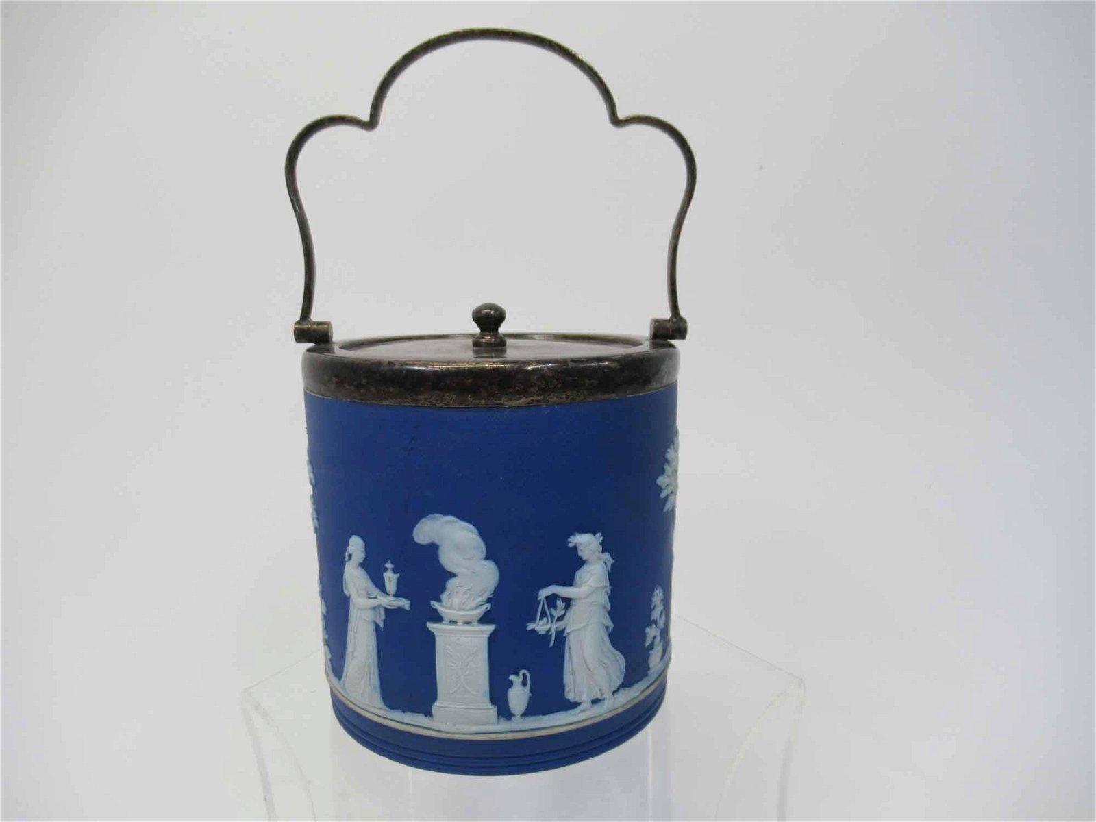 Wedgwood Jasperware Royal Blue Biscuit Jar