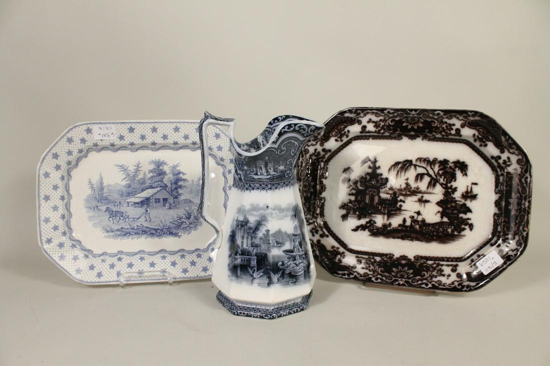 Three Transferware Porcelain Table Articles