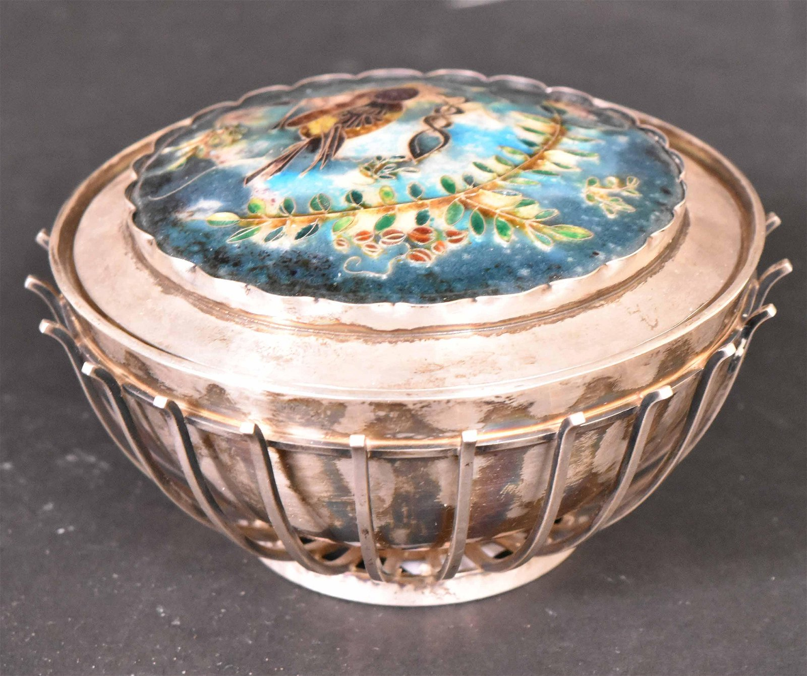 German Silver & Enameled Hardstone Covered Bowl