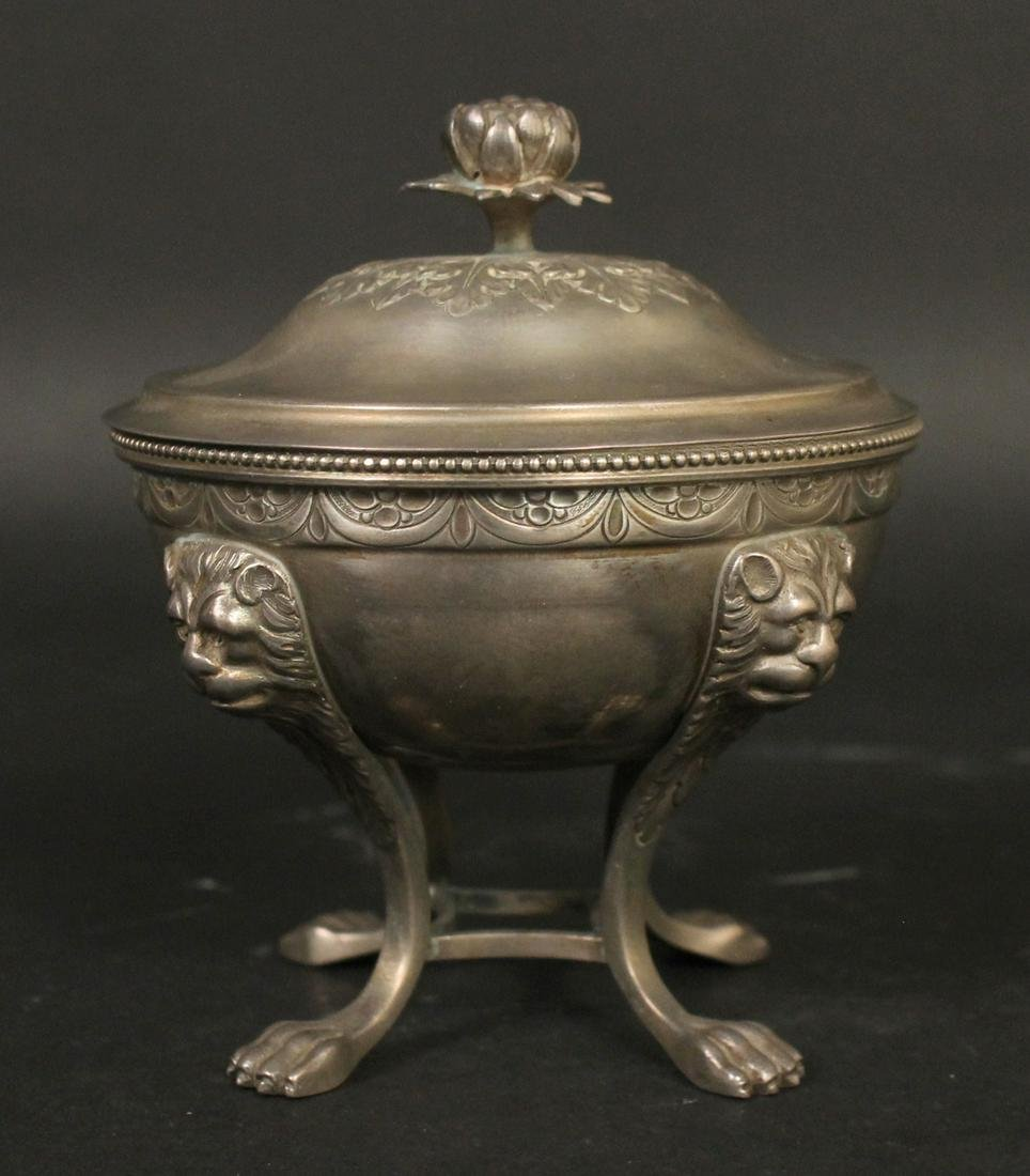 French Silver Covered Footed Bowl