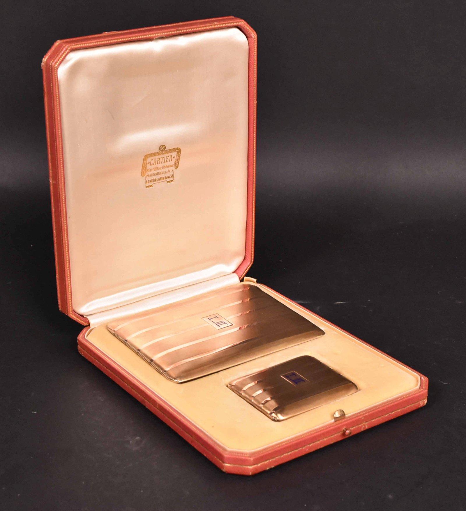 Cartier Boxed Set 14K Yellow Gold Cigarette Case