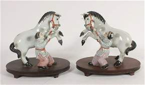 Pair Chinese Porcelain Horse and Boy Figure