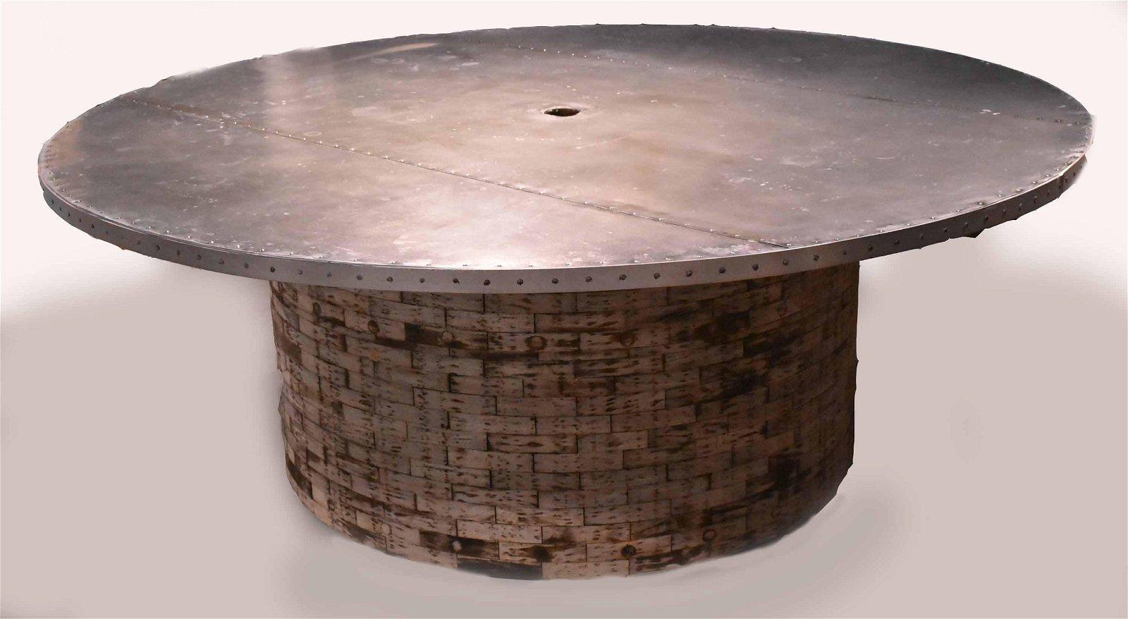 Modern Zinc Top Circular Dining Table
