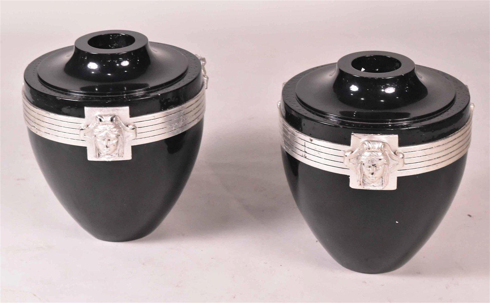 Pair of Ebonized & Silvered Metal Art Deco Vases