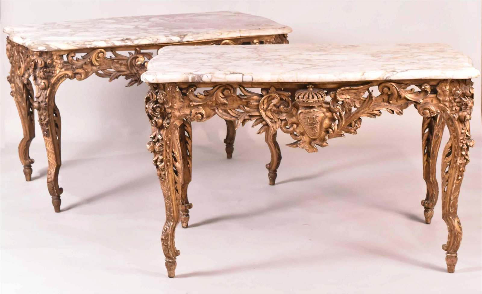 Pair of Louis XV Style Marble Top Giltwood Tables