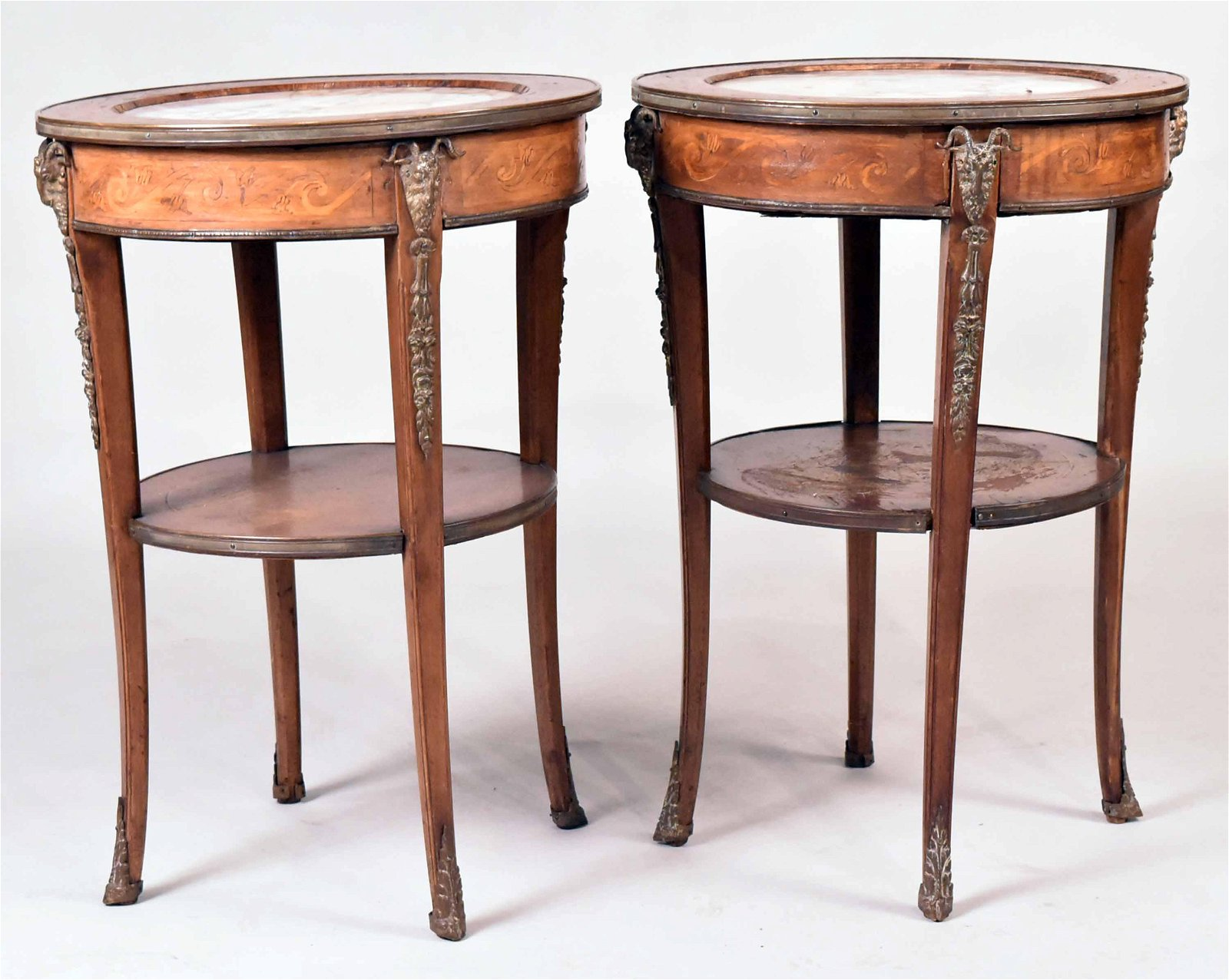 Pair of Louis XVI Marble Top Marquetry Tables