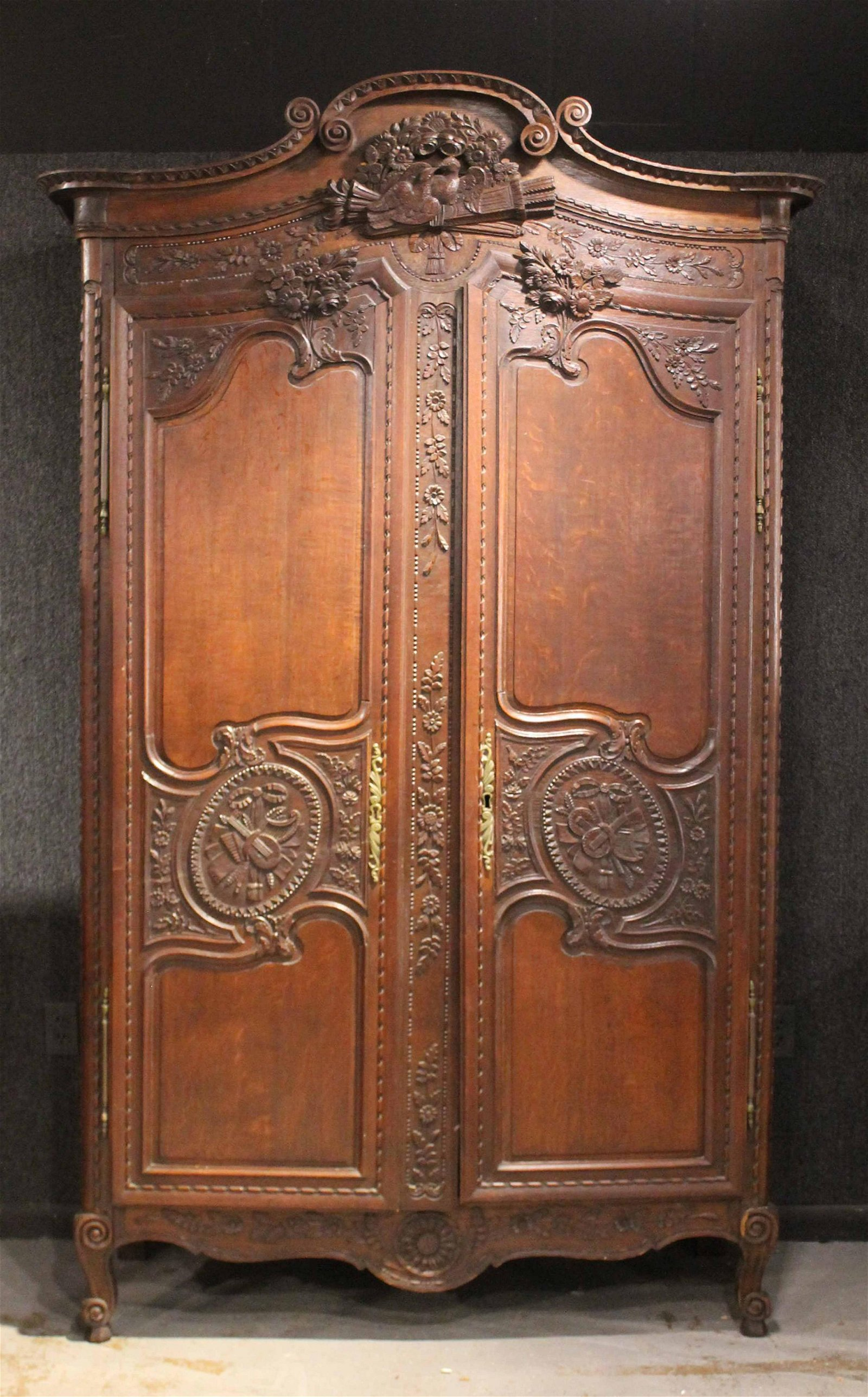 French Provincial Carved Oak Armoire