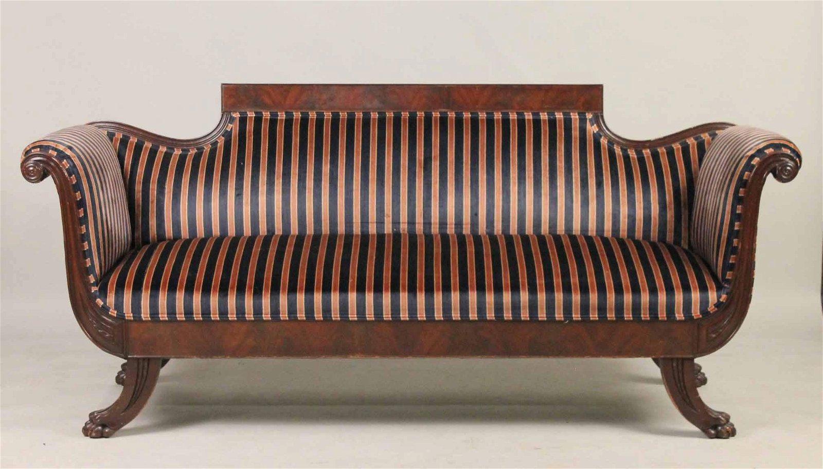 Victorian Mahogany Camelback Sofa