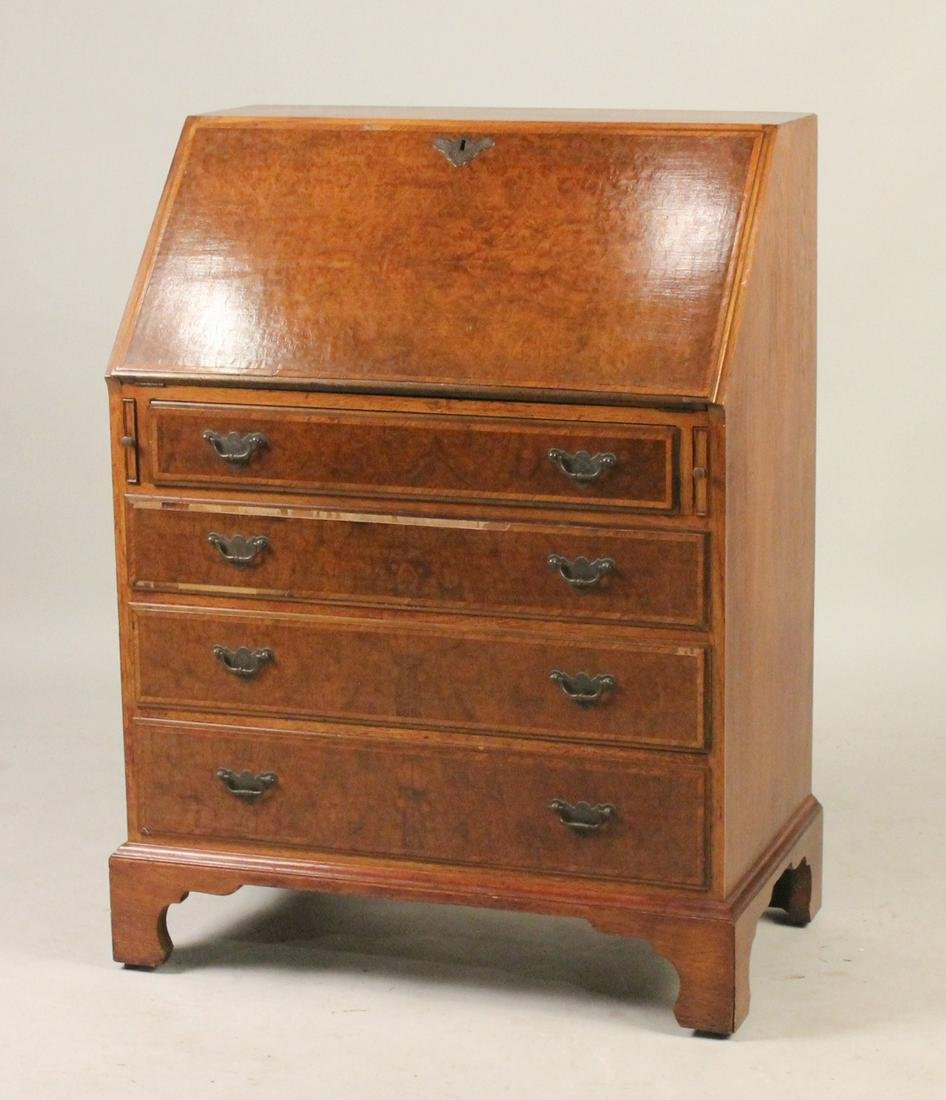 George I Style Burlwood Slant Front Desk