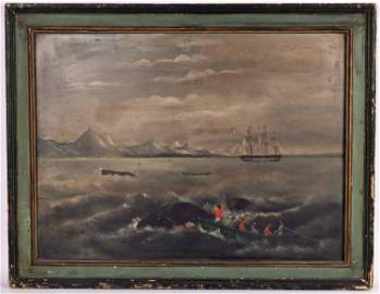 Fire Board Whaling Scene Ship with American Flag