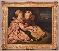 Oil on Canvas, Portrait of Two Young Children