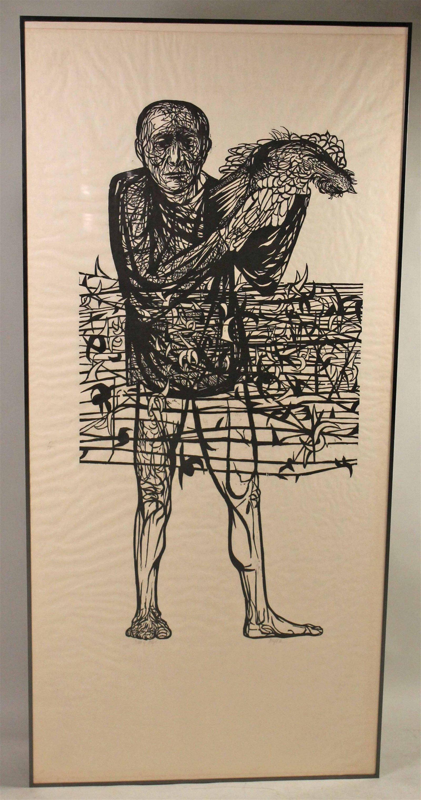 "Woodblock Print, ""Man of Peace,"" Leonard Baskin"