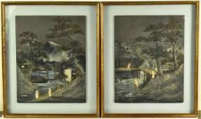 Pair of Japanese Painted Landscape Panels