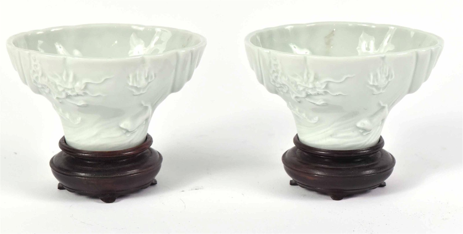 Pair of Chinese Blanc de Chine Horn Cups