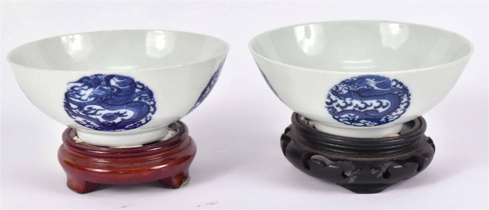Two Chinese Dragon-Decorated Porcelain Bowls