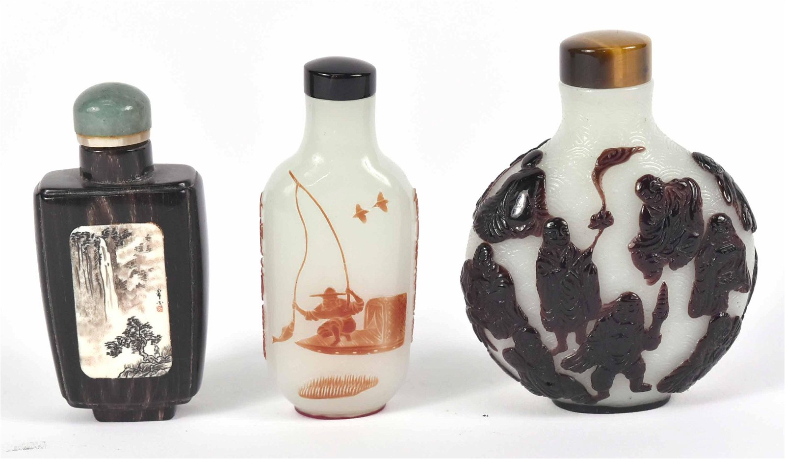 Three Chinese Glass and Stone Snuff Bottles