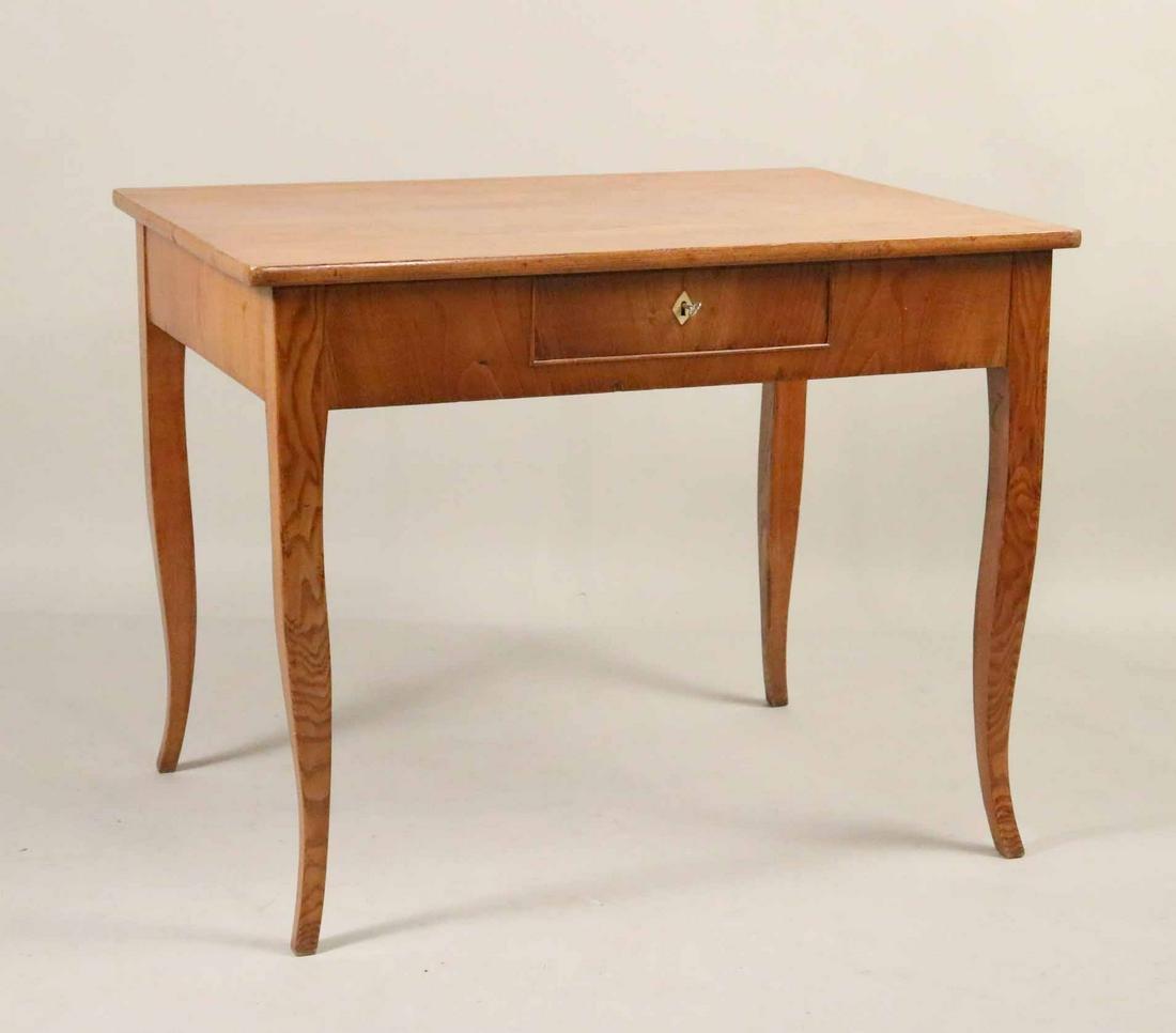 Biedermeier Oak One Drawer Writing Table