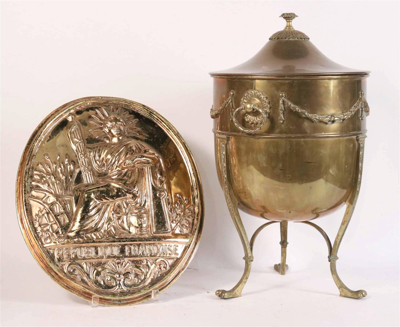 Large Neoclassical Style Brass Covered Urn