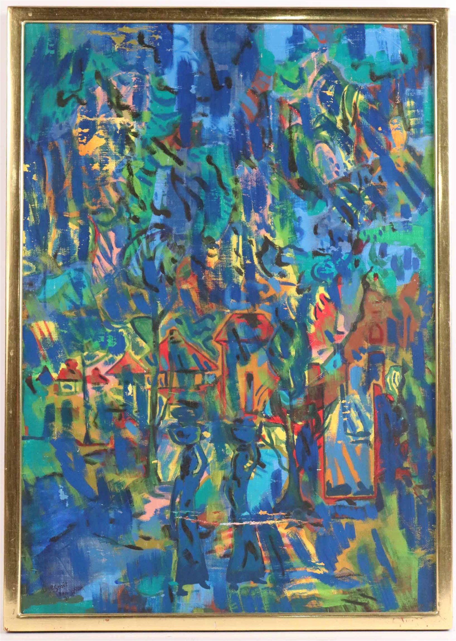 Oil on Canvas, Arie Smit, Bali Abstract in Blues