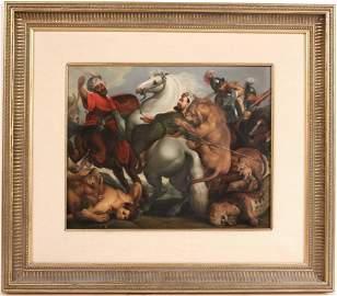 """KPM Porcelain Plaque """"The Lion Hunt"""" A.L. Eckart"""