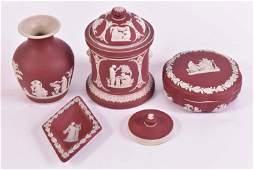 Five Wedgwood Crimson Jasperware Table Articles